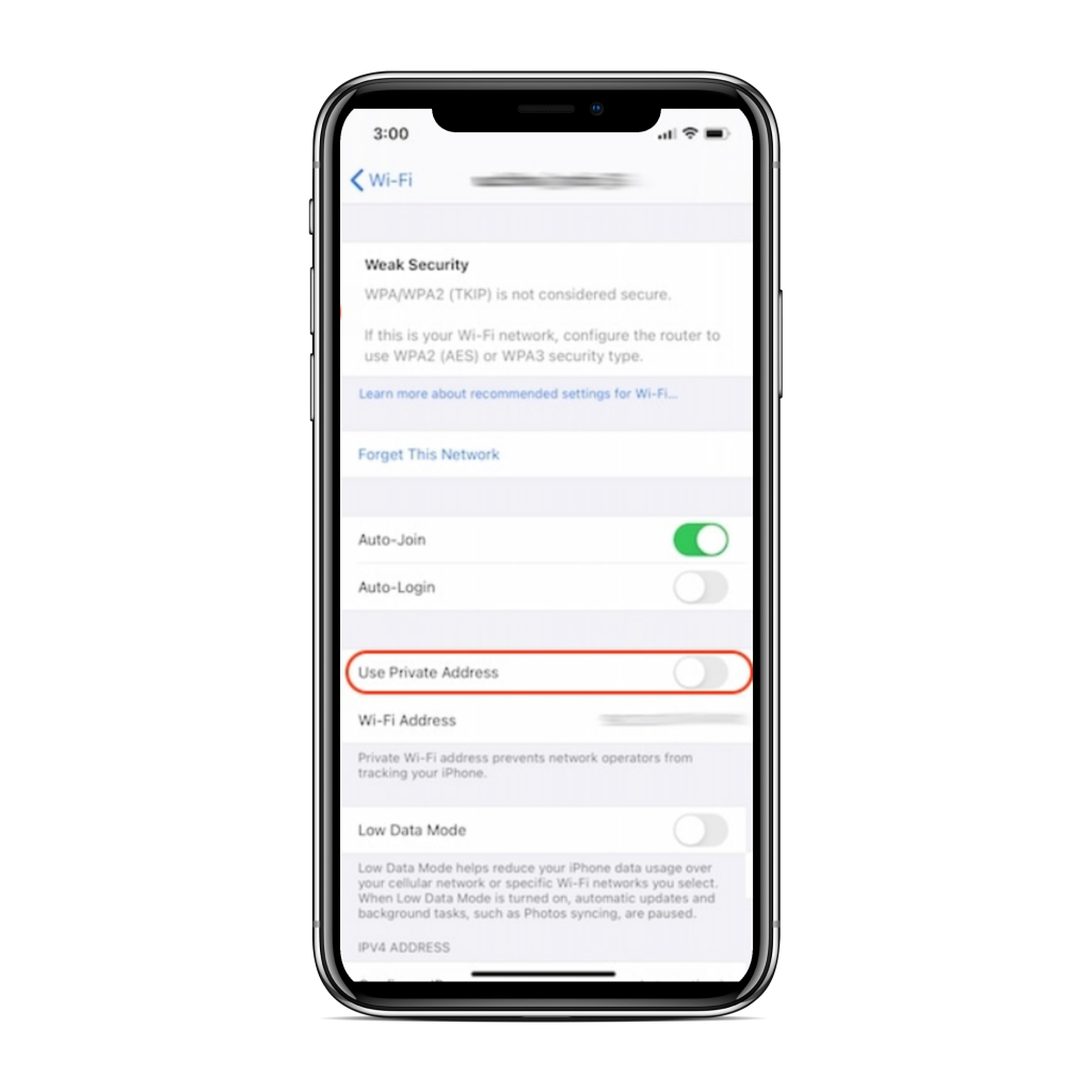 enable private MAC ios 14