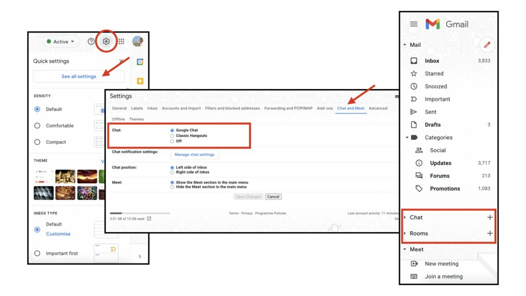How to enable Gmail unified interface and Google chat