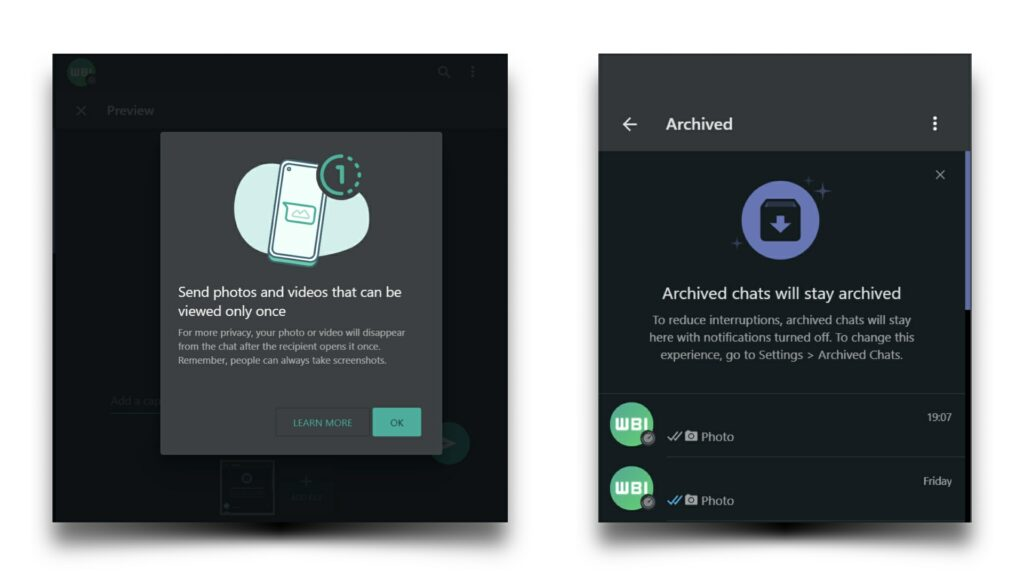 WhatsApp View Once Desktop and Web version